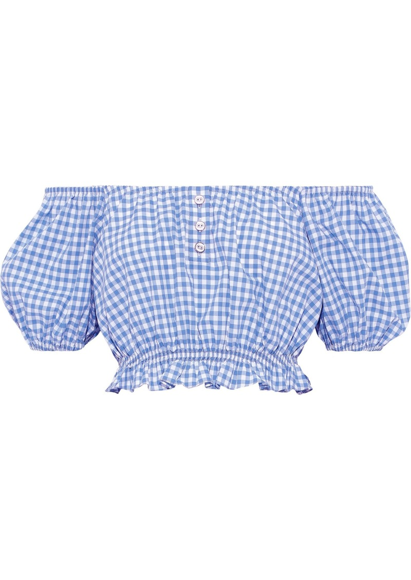 Caroline Constas Woman Bardot Cropped Off-the-shoulder Gingham Cotton-poplin Top Light Blue