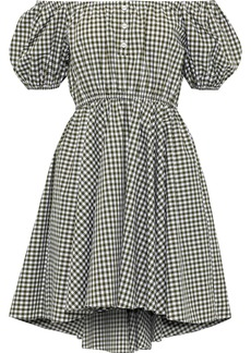 Caroline Constas Woman Bardot Off-the-shoulder Gingham Cotton-poplin Mini Dress Army Green