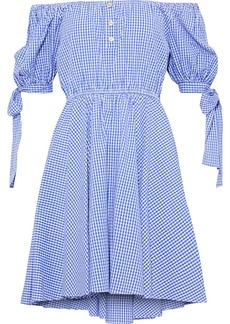 Caroline Constas Woman Bardot Off-the-shoulder Gingham Cotton-seersucker Mini Dress Blue