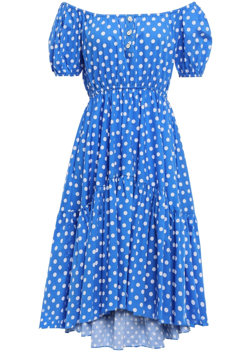 Caroline Constas Woman Bardot Off-the-shoulder Polka-dot Stretch-cotton Poplin Dress Blue