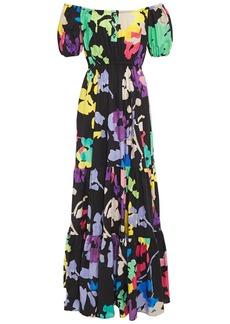 Caroline Constas Woman Bardot Off-the-shoulder Printed Stretch-cotton Poplin Maxi Dress Black