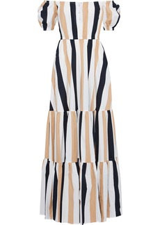 Caroline Constas Woman Bardot Off-the-shoulder Striped Cotton-blend Poplin Maxi Dress Beige
