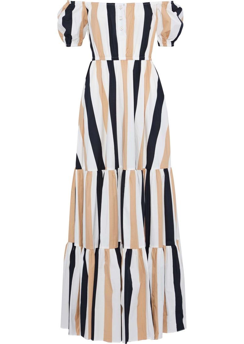 Caroline Constas Woman Bardot Off-the-shoulder Striped Cotton-blend Poplin Maxi Dress Beige