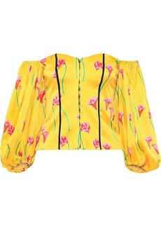 Caroline Constas Woman Belen Off-the-shoulder Floral-print Stretch-cotton Sateen Top Yellow
