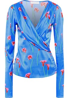 Caroline Constas Woman Berdine Wrap-effect Floral-print  Stretch-silk Satin Blouse Azure