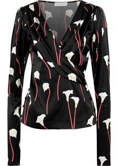 Caroline Constas Woman Berdine Wrap-effect Floral-print  Stretch-silk Satin Blouse Black