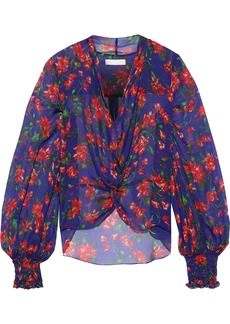 Caroline Constas Woman Bette Twist-front Floral-print Silk-chiffon Blouse Purple
