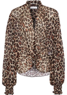 Caroline Constas Woman Bette Twist-front Leopard-print Silk-chiffon Blouse Animal Print