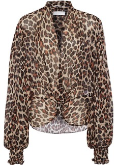 Caroline Constas Woman Bette Twist-front Leopard-print Silk-chiffon Blouse Animal Print