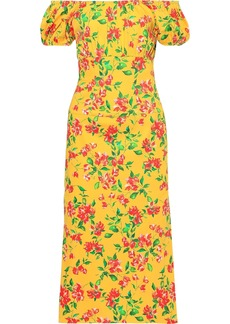 Caroline Constas Woman Calla Off-the-shoulder Floral-print Cotton-blend Poplin Midi Dress Yellow