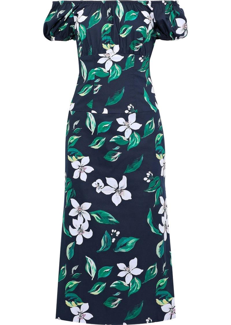 Caroline Constas Woman Calla Off-the-shoulder Floral-print Stretch-cotton Poplin Midi Dress Navy