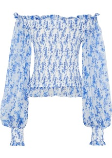 Caroline Constas Woman Damaris Off-the-shoulder Shirred Printed Silk-chiffon Top Blue