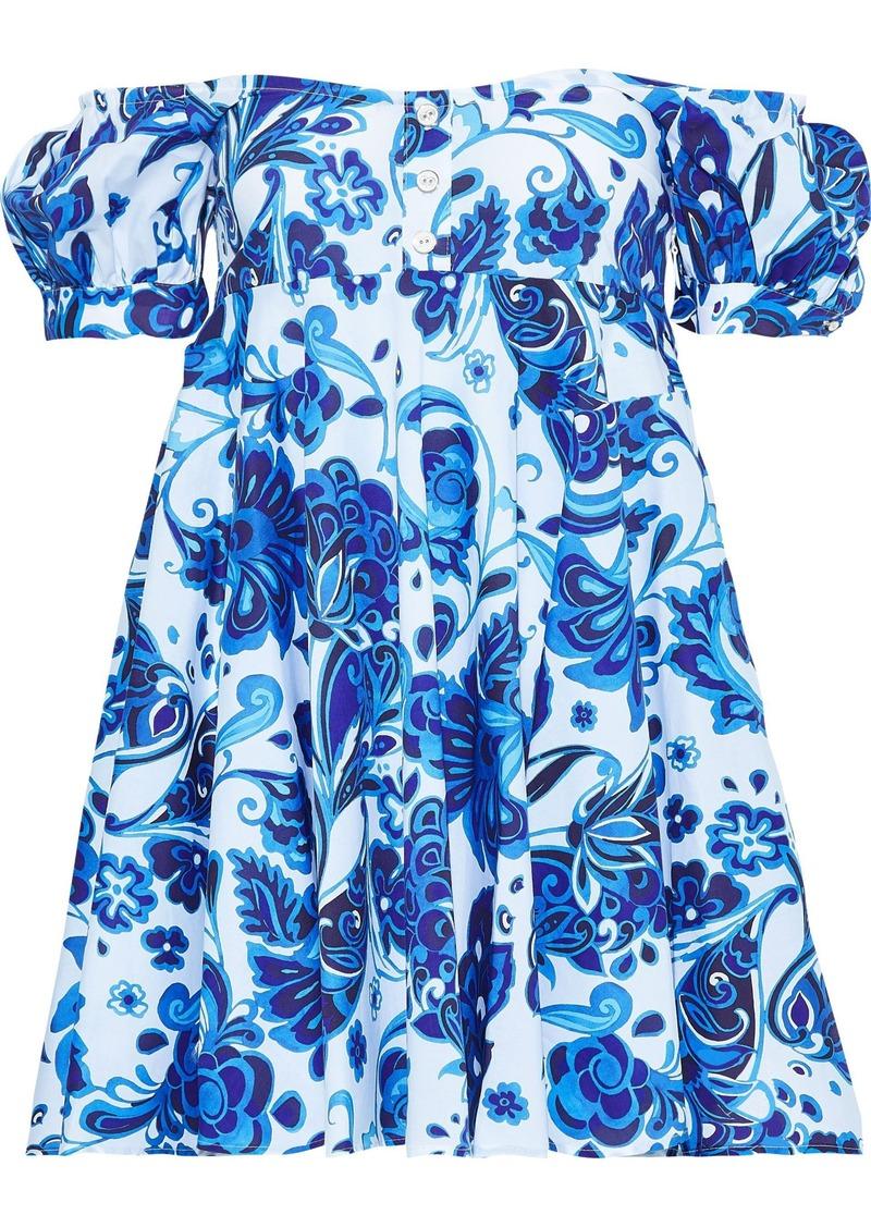 Caroline Constas Woman Dina Off-the-shoulder Floral-print Stretch-cotton Poplin Mini Dress Blue