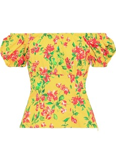 Caroline Constas Woman Dione Off-the-shoulder Floral-print Cotton-blend Poplin Top Yellow
