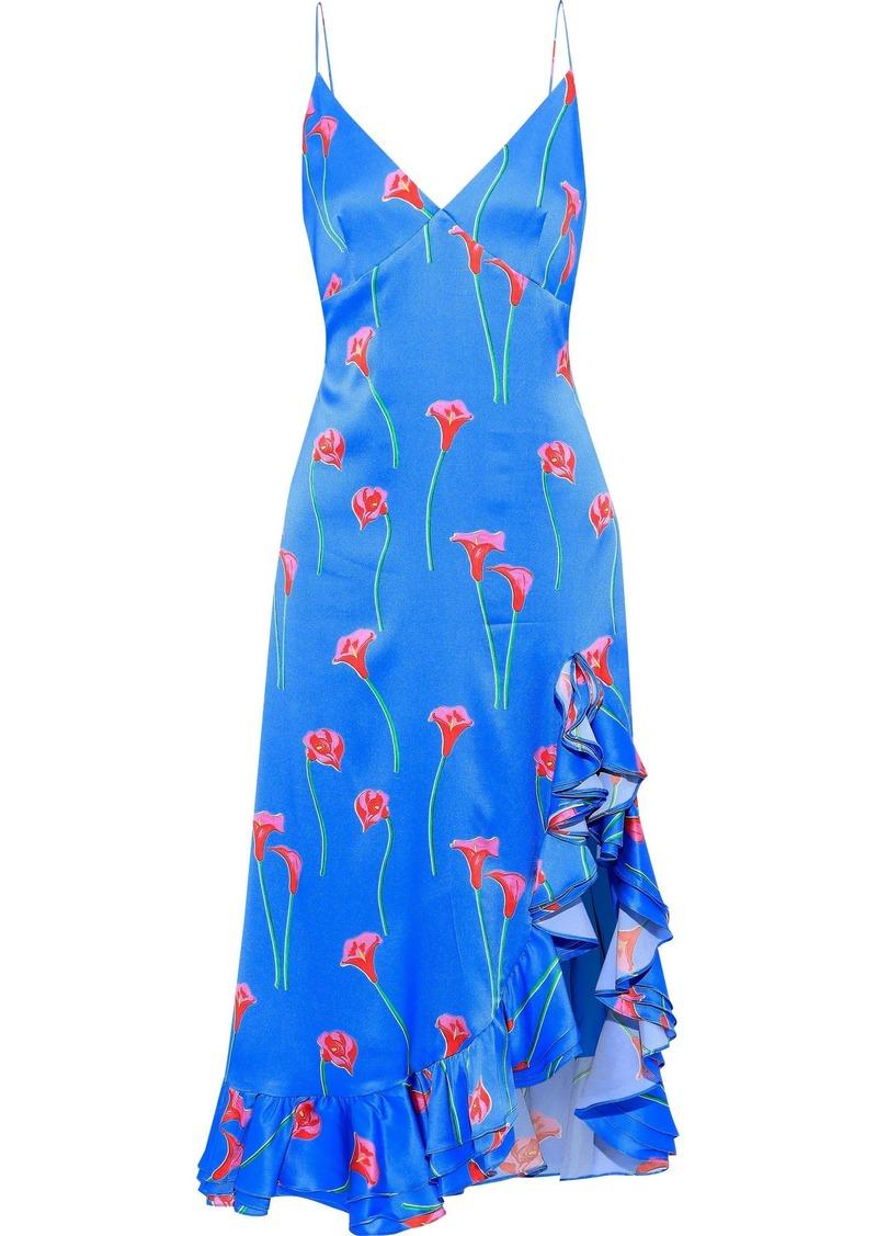 Caroline Constas Woman Elvira Ruffle-trimmed Floral-print Stretch-cotton Sateen Slip Dress Azure