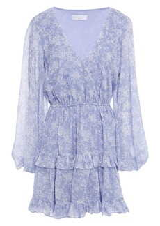 Caroline Constas Woman Fae Tiered Floral-print Chiffon Mini Dress Light Blue