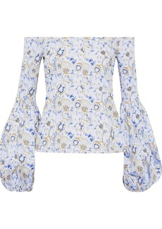 Caroline Constas Woman Gisele Off-the-shoulder Floral-print Cotton-blend Poplin Blouse White
