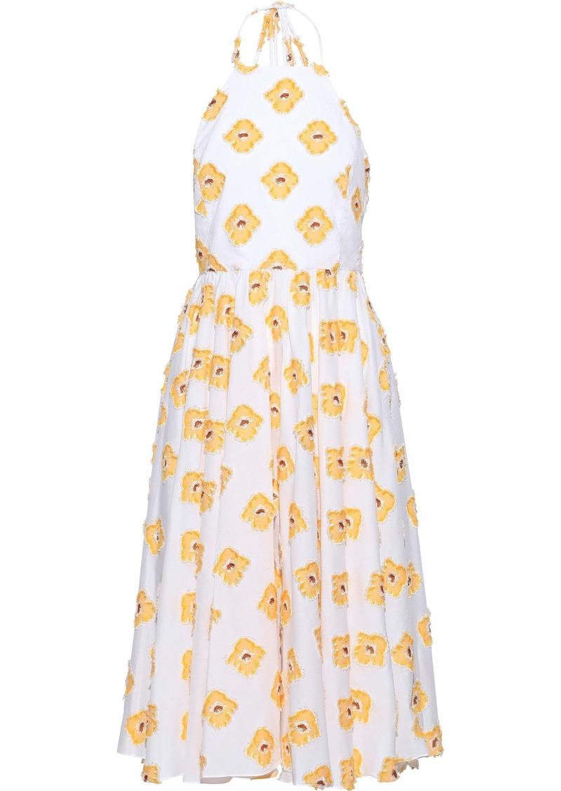 Caroline Constas Woman Gretta Fil Coupé Cotton-blend Jacquard Halterneck Dress White