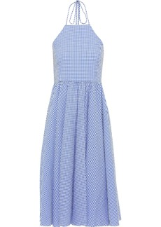 Caroline Constas Woman Gretta Gingham Cotton-seersucker Halterneck Dress Light Blue