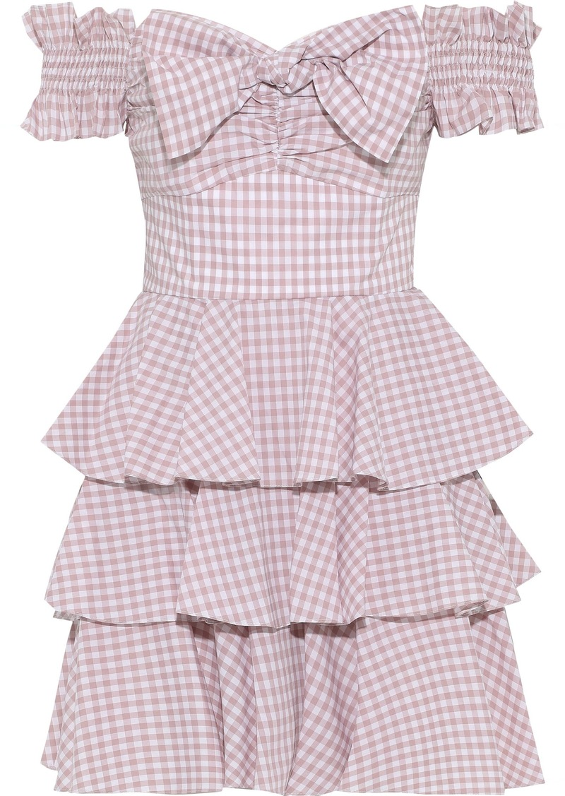 Caroline Constas Woman Helena Off-the-shoulder Tiered Gingham Cotton-poplin Mini Dress Blush