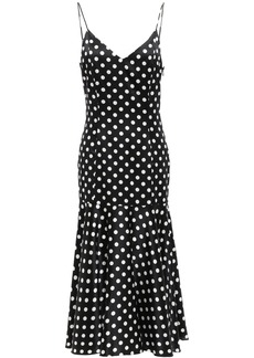 Caroline Constas Woman Kai Polka-dot Stretch-silk Satin Midi Slip Dress Black