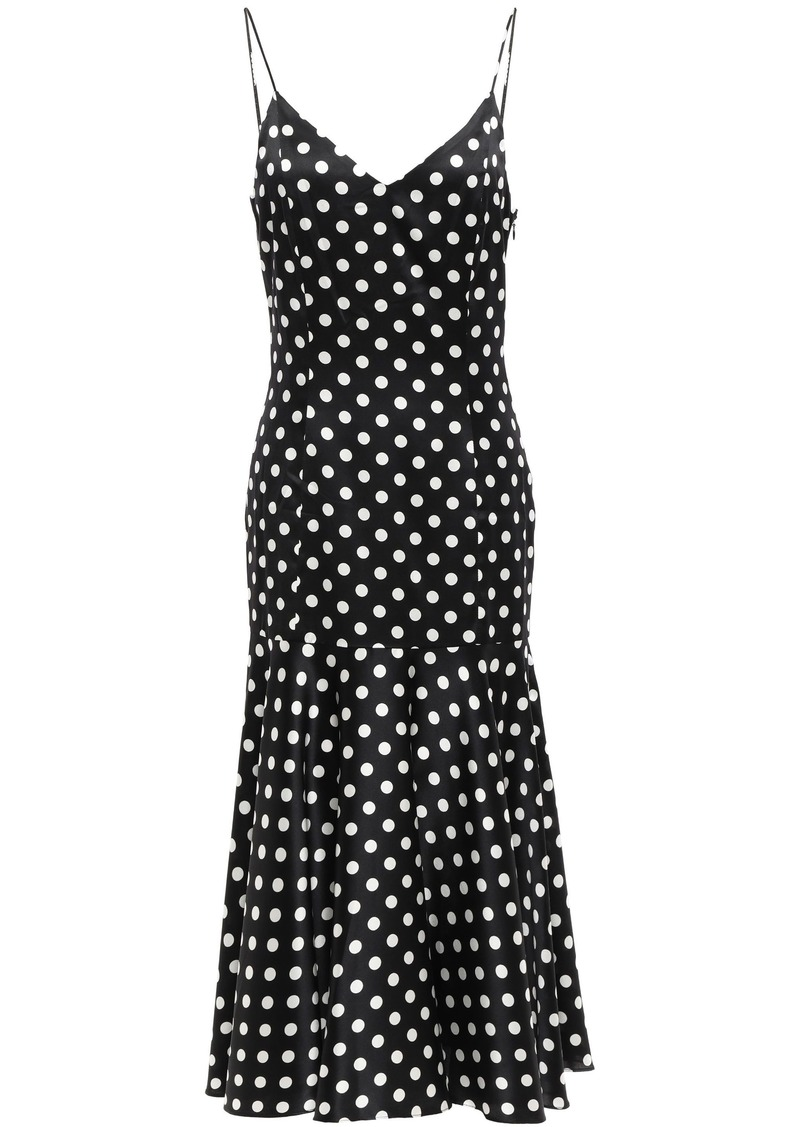 Caroline Constas Woman Kai Polka-dot Stretch-silk Satin Midi Slip Dress Black