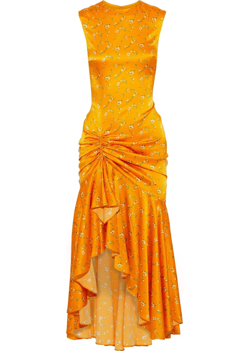 Caroline Constas Woman Lonnie Ruched Floral-print Silk-blend Satin Dress Orange