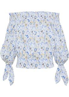 Caroline Constas Woman Lou Off-the-shoulder Printed Cotton-blend Top Blue