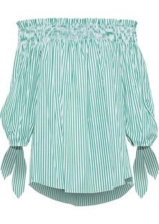 Caroline Constas Woman Lou Off-the-shoulder Striped Cotton-poplin Top Green