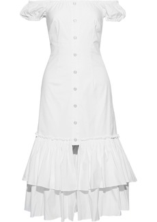 Caroline Constas Woman Lyla Off-the-shoulder Tiered Cotton-blend Poplin Dress White