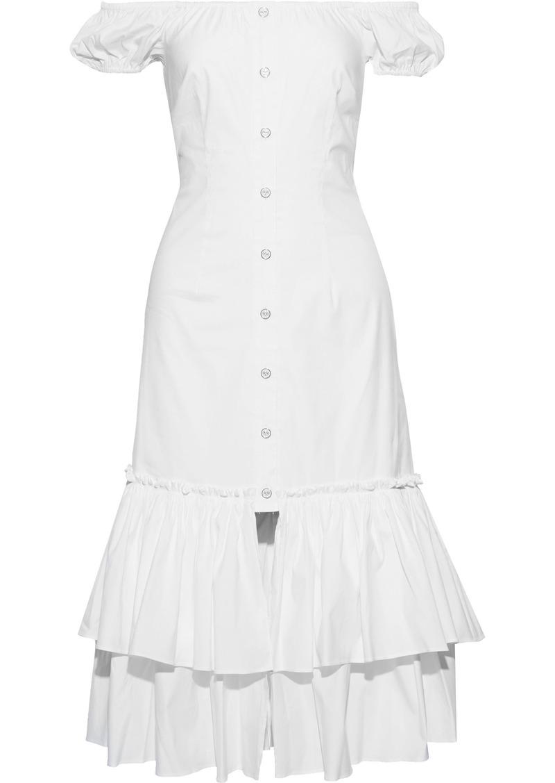 Caroline Constas Woman Lyla Off-the-shoulder Tiered Cotton-blend Poplin Midi Dress White