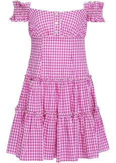 Caroline Constas Woman Maria Off-the-shoulder Gingham Cotton-poplin Mini Dress Magenta