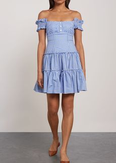 Caroline Constas Woman Maria Off-the-shoulder Gingham Cotton-poplin Mini Dress Light Blue