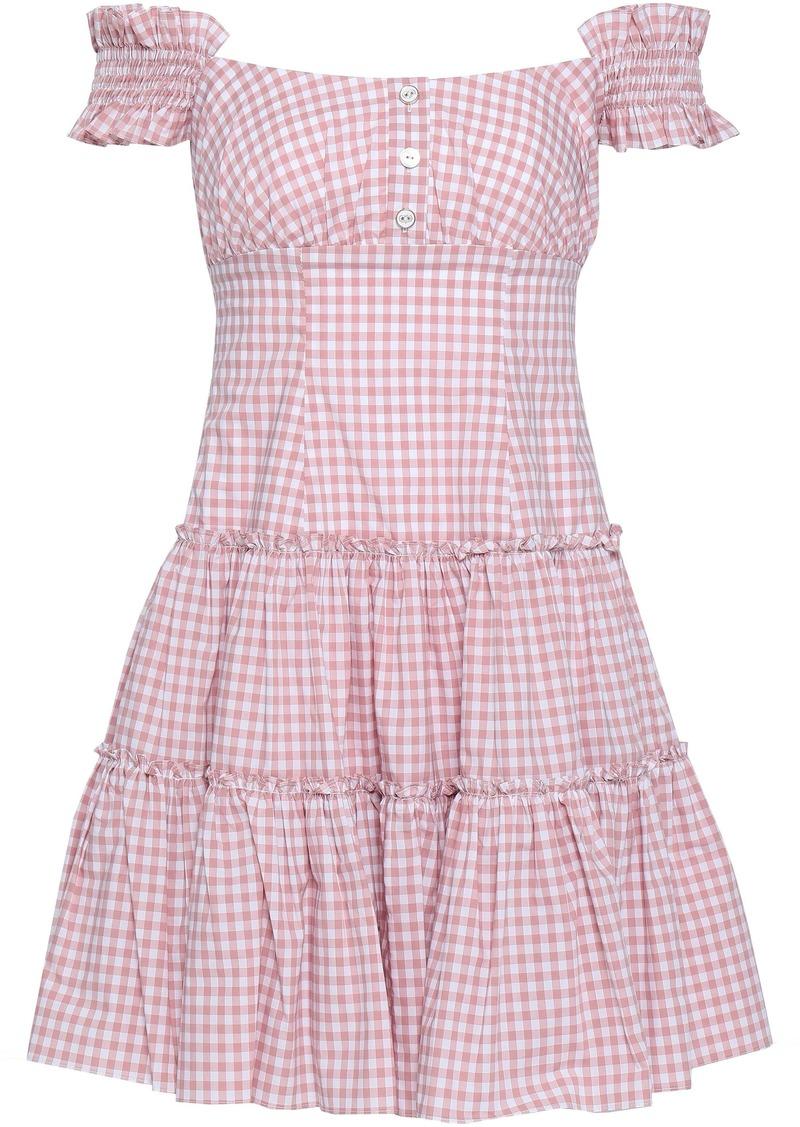 Caroline Constas Woman Maria Off-the-shoulder Gingham Cotton-poplin Mini Dress Blush