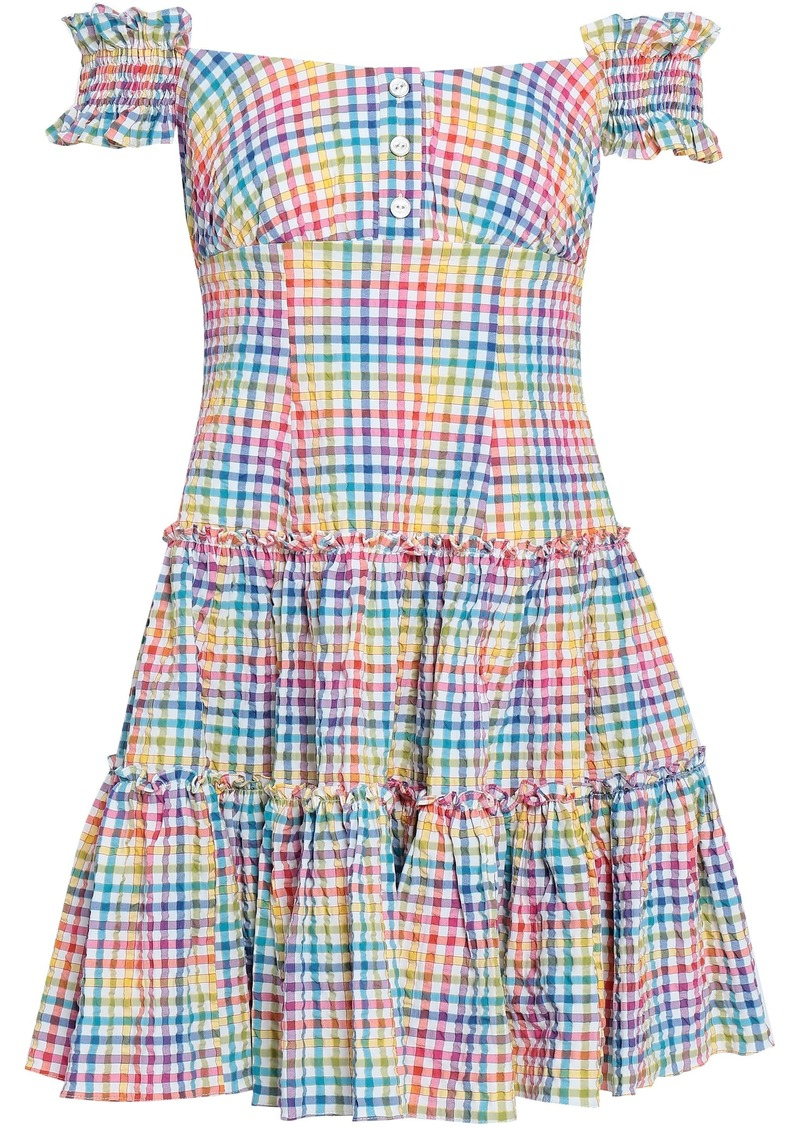 Caroline Constas Woman Maria Off-the-shoulder Gingham Cotton-poplin Mini Dress Multicolor