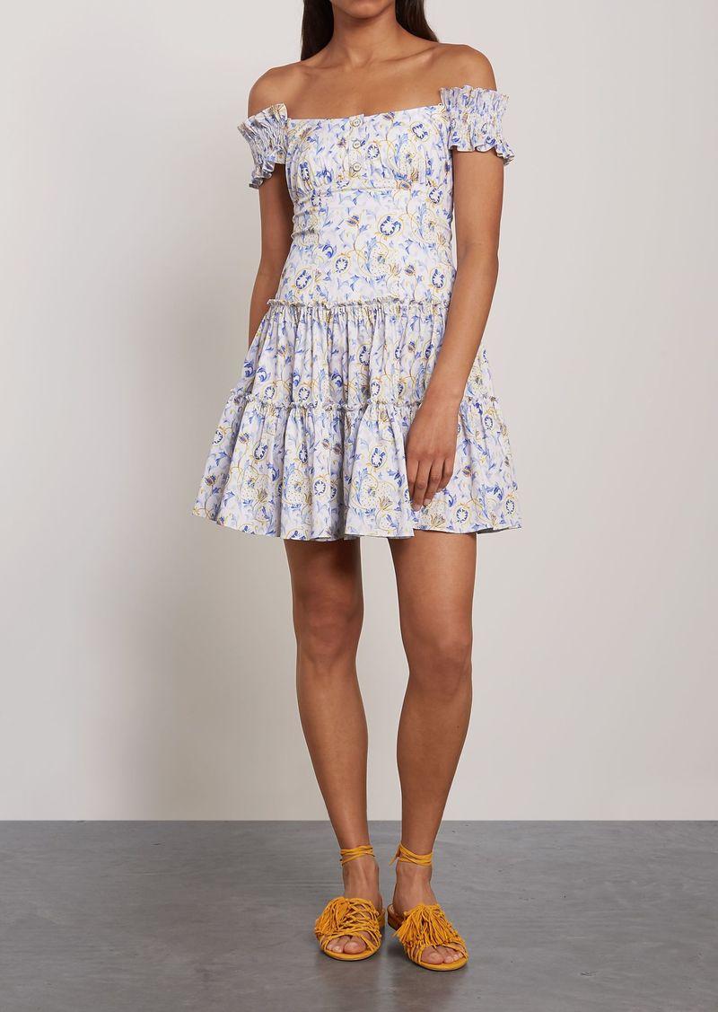 Caroline Constas Woman Maria Off-the-shoulder Shirred Printed Cotton-blend Poplin Mini Dress White