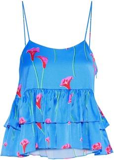 Caroline Constas Woman Nadine Tiered Floral-print Washed Stretch-silk Camisole Azure