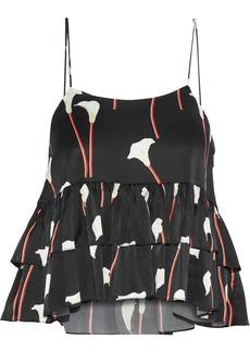 Caroline Constas Woman Nadine Tiered Floral-print Washed Stretch-silk Camisole Black
