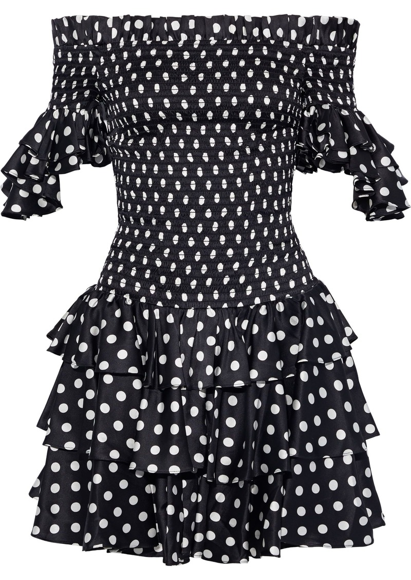 Caroline Constas Woman Off-the-shoulder Polka-dot Stretch-silk Satin Mini Dress Black
