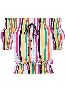 Caroline Constas Woman Off-the-shoulder Shirred Striped Cotton-poplin Blouse White