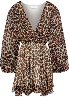 Caroline Constas Woman Olena Wrap-effect Leopard-print Silk-chiffon Mini Dress Animal Print