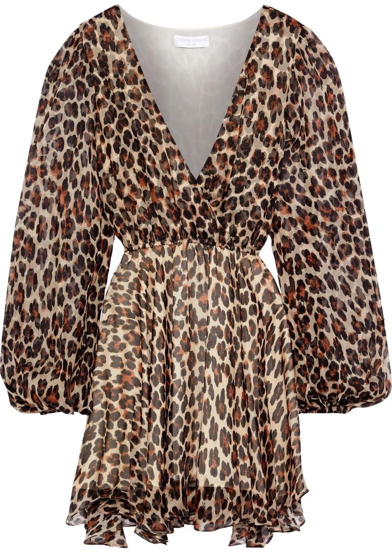 Caroline Constas Woman Olena Wrap-effect Leopard-print Silk-chiffon Mini Dress Animal Print