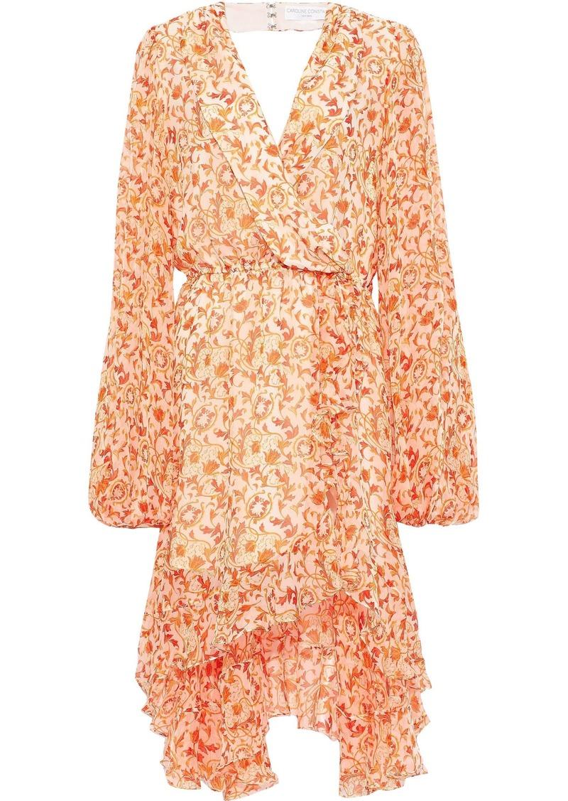 Caroline Constas Woman Olivia Wrap-effect Ruffled Floral-print Silk-chiffon Dress Pastel Orange