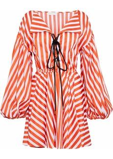 Caroline Constas Woman Olympia Lace-up Striped Cotton-poplin Mini Dress Bright Orange
