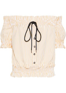 Caroline Constas Woman Peasant Off-the-shoulder Embellished Striped Cotton-poplin Blouse Yellow
