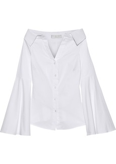 Caroline Constas Woman Persephone Off-the-shoulder Stretch-cotton Poplin Shirt White