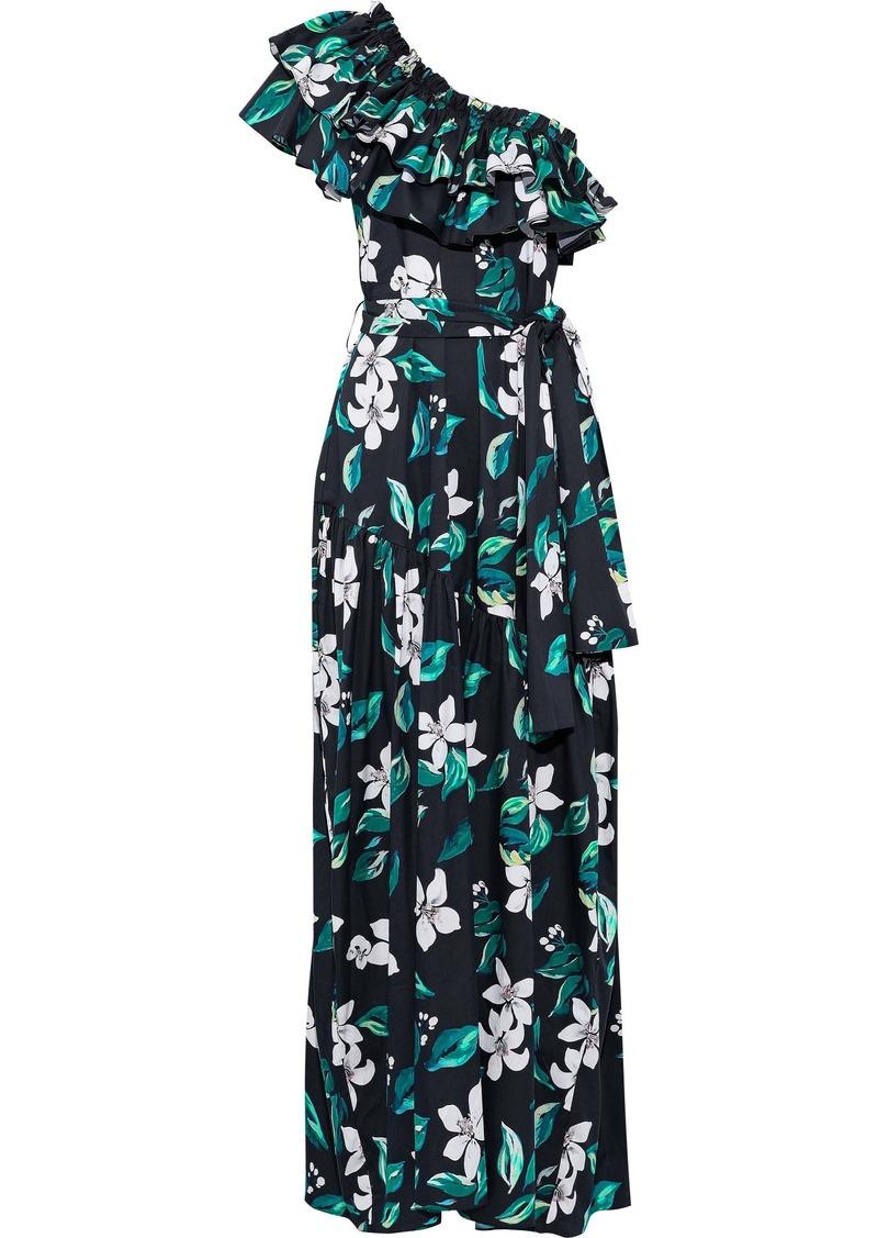 Caroline Constas Woman Rhea One-shoulder Ruffled Floral-print Cotton-blend Poplin Maxi Dress Midnight Blue