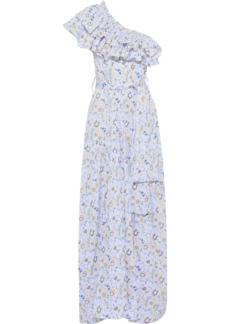 Caroline Constas Woman Rhea One-shoulder Ruffled Floral-print Cotton-blend Poplin Maxi Dress White