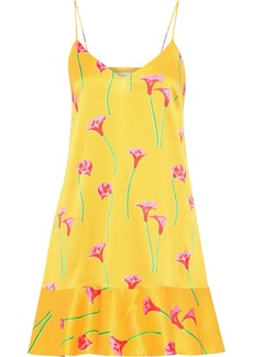 Caroline Constas Woman Tina Floral-print Stretch-silk Satin Mini Slip Dress Yellow