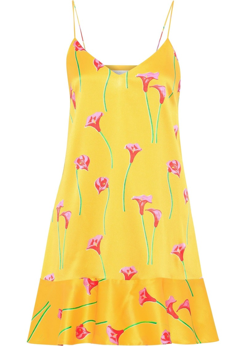 Caroline Constas Woman Tina Floral-print Stretch-silk Satin Mini Slip Dress Yellow